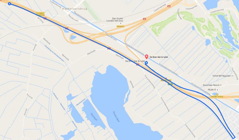 Route vanuit Amsterdam